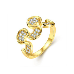 Treasure by B&D,R016-A-7 Petals Flower Shape Zircon Ring,KZCR016-A-7 image here