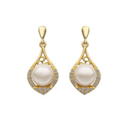 Treasure by B&D,E521 Czech Drilling Artificial Pearl Inlayed Oval Leaf Shape Stud Earrings,LKN18KRGPE521 image here