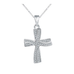 Treasure by B&D,N001 Plated Double Cross Pendant Zircon Inlayed Necklace,AKN001 image here