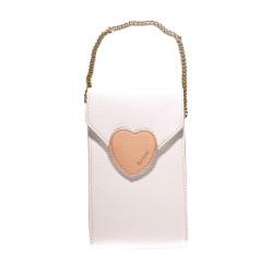 Treasure by B&D,Women PU Sling Bag Heart Lock Design,White,Heart Lock Sling Bag White image here