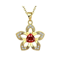 Treasure by B&D,N892-A Luxurious Sakura Flower Pendant Ruby Inlay Plated Necklace,LKN18KRGPN892-A image here