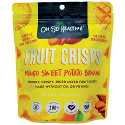 Oh So Healthy,Fruit Crisps Mango Sweet Potato Banana 40g,Yellow,4806531960006 image here