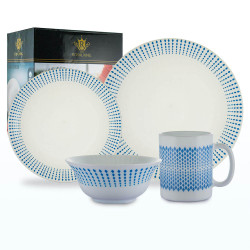 Royal King, 16pc Blaze Plano Dinner Set, White and Blue, RK 097 image here