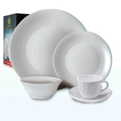 Royal King, 20pc Plain Plano Dinner Set, White, RK 105 image here