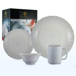 Royal King, 16pc Plain Fluted Dinner Set, White, RK 090 image here