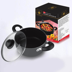 Royal King, 24cm Induction Ready Non-Stick Stock pot with Glass Lid, Black, RK 059 image here
