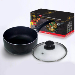 Royal King, 16cm Induction Ready Non-Stick Saucepan with Glass Lid, Black, RK 056 image here