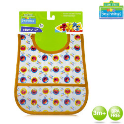 Sesame Beginnings Plastic Bib with Pocket Catches Crumbs image here