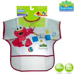 Sesame Beginnings Coverall Plastic Bib with Pocket image here