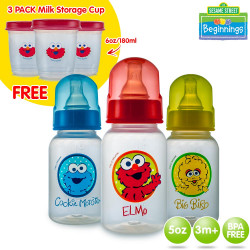 Sesame Beginnings 5oz Feeding Bottles with 3 Pack Milk Storage image here