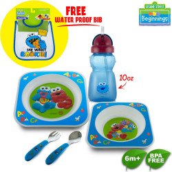 Sesame Beginning Meal Set and Spill Proof Straw Cup with Free Plastic Bib image here