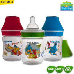 Sesame Beginnings 4oz Wide Neck Feeding Bottles - Set of 3 image here
