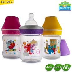 Sesame Beginnings 4oz Wide Neck Feeding Bottles - Set of 3 image here