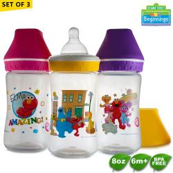 Sesame Beginnings 8oz Wide Neck Feeding Bottles - Set of 3 image here