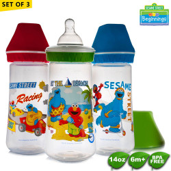 Sesame Beginnings 14oz Wide Neck Feeding Bottles - Set of 3 image here