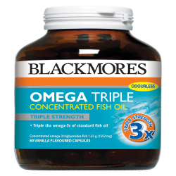 BLACKMORES OMEGA TRIPLE CONCENTRATED FISH OIL 60S image here