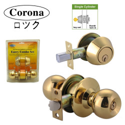 Corona 722/600 Entrance Keyed Lock Door Knob Lock and Single Cylinder Deadbolt Combination Lock image here