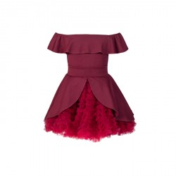 BABY FASHIONISTAS OFF SHOULDERGIRL PARTY DRESS  RED/ MAROON image here