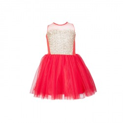 BABY FASHIONISTAS RED WITH SEQUINS GIRL PARTY DRESS RED/ GOLD image here
