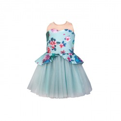 BABY FASHIONISTAS FLORAL PEPLUM WITH SEE THRU GIRL PARTY DRESS IN MINT GREEN image here
