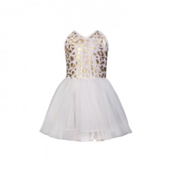 BABY FASHIONISTAS HALTER ANIMAL PRINT GIRL PARTY DRESS IN GOLD image here