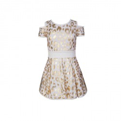 BABY FASHIONISTAS PEEKABOO DRESS IN ANIMAL PRINT GIRL PARTY DRESS GOLD image here