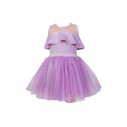 BABY FASHIONISTAS OFF SHOULDER WITH SEE THRU WITH TULLE SKIRT GIRL PARTY DRESS PURPLE image here