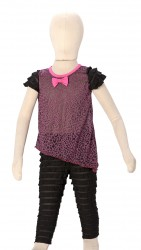 BABY FASHIONISTAS LEOPARD TO WITH LAYERED LEGGINGS BLACK/PURPLE image here