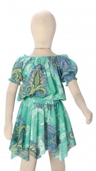 BABY FASHIONISTAS PRINTED CHIFFON GIRL PARTY DRESS GREEN image here