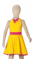 BABY FASHIONISTAS KNITTED WITH BOW GIRL PARTY DRES YELLOW GOLD/FUCHSIA image here