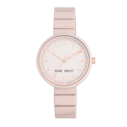 NINE WEST Women's modern metal pink silicone strap NW/2012LPRG  image here