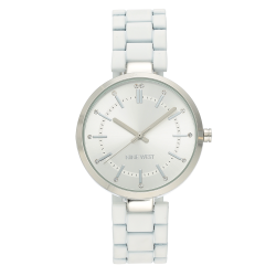 NINE WEST Women's Crystal Accented Silver-Tone and White Rubberized Bracelet Watch NW/2303SVWT image here