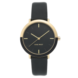 NINE WEST Women's  Gold-Tone and Black Strap Watch NW/2346GPBK image here