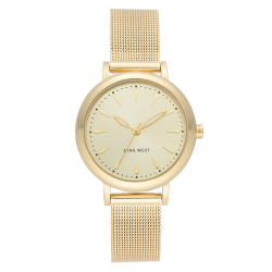 NINE WEST Women's Gold-Tone Mesh Bracelet Watch NW/2392CHGP image here