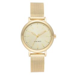 NINE WEST Women's Gold-Tone Mesh Bracelet Watch NW/2392CHGP image here
