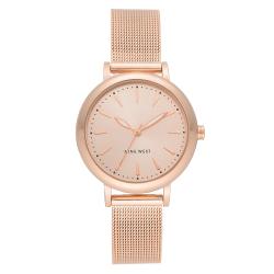 NINE WEST Women's Rose Gold-Tone Mesh Bracelet Watch NW/2392RGRG image here