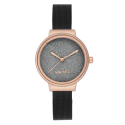 NINE WEST Rose Gold-Tone and Black Mesh Bracelet Watch NW/2397BKRT image here