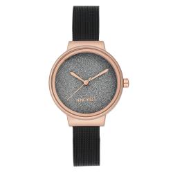 NINE WEST Rose Gold-Tone and Black Mesh Bracelet Watch NW/2397BKRT image here