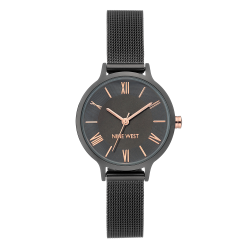 NINE WEST Women's Rose Gold-Tone and Grey Rubberized Bracelet Watch NW/2410GYGY image here
