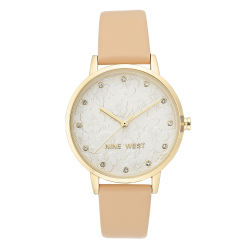 NINE WEST Women's Crystal Accented Gold-Tone and Tan Vegan Leather Strap Watch NW/2422SVTN image here