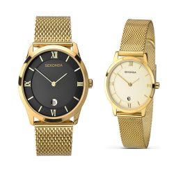 Sekonda His & Hers Gold Plated Milanese Dress Watch Set - 1064/2103 image here