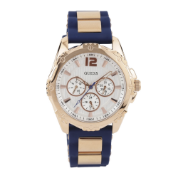 GUESS WOMEN'S ROSE GOLD TONE CASE BLUE SILICONE WATCH - W0325L8 image here