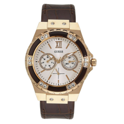 GUESS WOMEN'S ROSE GOLD TONE CASE BROWN LEATHER  WATCH - W0775L14 image here
