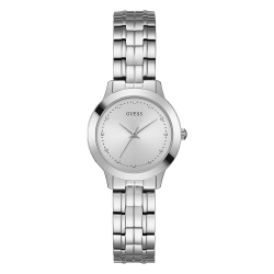GUESS WOMEN'S SILVER TONE CASE STAINLESS STEEL  WATCH - W0989L1 image here