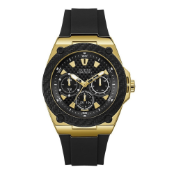 GUESS MEN'S GOLD TONE CASE BLACK SILICONE WATCH - W1049G5 image here