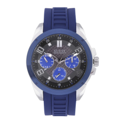 GUESS MEN'S SILVER TONE CASE BLUE SILICONE WATCH - W1050G1 image here