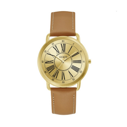 GUESS WOMEN'S GOLD TONE CASE BROWN LEATHER  WATCH - W1068L4 image here
