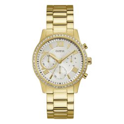 GUESS WOMEN'S GOLD TONE CASE STAINLESS STEEL  WATCH - W1069L2 image here