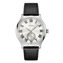 GUESS MEN'S SILVER TONE CASE BLACK LEATHER  WATCH - W1075G1 image here
