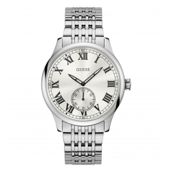 GUESS MEN'S SILVER TONE CASE STAINLESS STEEL  WATCH - W1078G1 image here